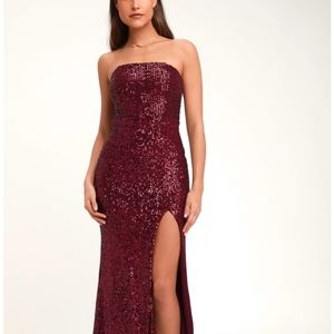 Wine Red Strapless Sequin Maxi Dress